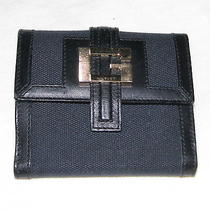 Vintage Gucci Mens or Womens Black Wallet Canvas Leather Gold G Exc Condition Photo