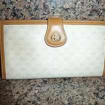 Vintage Gucci Monogram Wallet Coated Canvas and Leather With Brass and Enamel   Photo