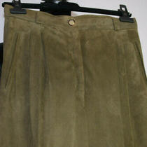 Vintage Gucci Sz 44 Suede Leather Lined Pleated Pants Pockets Italy Brown/taupe Photo