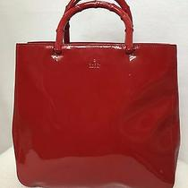 Vintage Gucci Vertical Shopper in Patent Calf and Painted Bamboo Handles Italy Photo