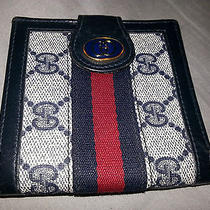 Vintage Gucci Wallet Navy Bifold Authentic Pocketbook Leather Photo