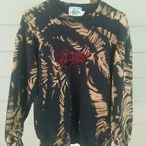 Vintage Guess Bleach Tie Dye Sweatshirt Tiger Stripes W/ Logo Black Rust Medium Photo
