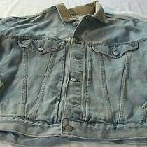 Vintage Guess Blue Denim Jean Jacket With Cord Collar Size Large Photo