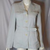 Vintage Guess Button Down Jacket Size 4 Light Blue v Neck Collar Long Sleeve Top Photo
