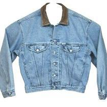 Vintage Guess Jean Jacket Mens Large Leather Collar 4 Pocket Light Blue 80's   Photo
