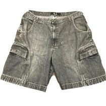 Vintage Guess Jeans Black Acid Washed Streetwear Cargo Shorts 40 Grunge Punk Usa Photo