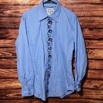 Vintage Guess Jeans Men's Dress Shirt Size Medium Flip Cuff Blue Embellished Photo