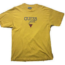 Vintage Guess Jeans Spellout T-Shirt Large Embroidered Yellow Made in Usa Sz L Photo