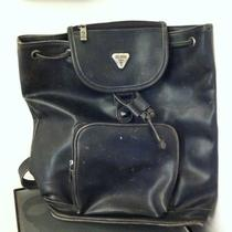 Vintage Guess Large Leather Back Pack Pull String With Zipper Pockets Photo