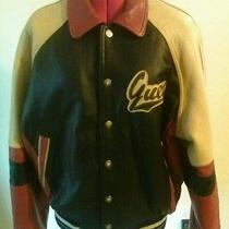 Vintage Guess Leather Lettermen Bomber Motorcycle Jacket. Photo