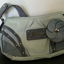 Vintage Guess Light Blue  Shoulder Tote Bag With Flower Photo