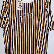 Vintage Guess Los Angeles Striped Shirt Yellow Red White Black Mens Size Large Photo