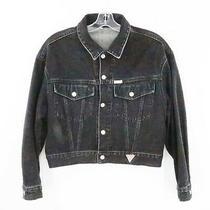 Vintage Guess Marciano Black Denim Cropped Jacket Women Size Large Photo