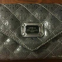 Vintage Guess Silver Womens Clutch With Strap. Pre-Owned Photo