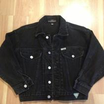 Vintage Guess Usa Womens Black Jean Jacket Sz Small Photo