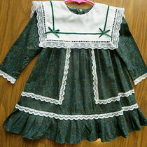 Vintage Gunne Sax Jessica Mcclintock Dark Green/lace Toddler Girl Dress 3t Photo