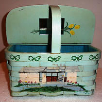 Vintage Hand Painted Wood Slat Basket Purse Aqua Color Signed Ivey1969  Photo