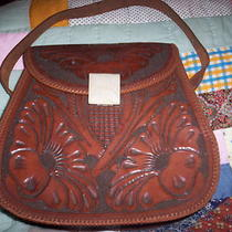 Vintage Hand Tooled Leather Purse Engraved Ricardo Silver Buckle Cactus Blossom Photo