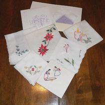 Vintage Handkerchiefs-Christmas Native American Style & Avon Lavender & Lace  Photo