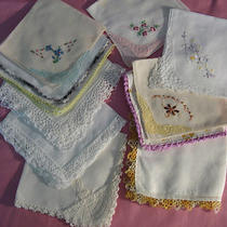 Vintage Handkerchiefs Set of 11 All With Fancy Trim 1 With Tatting Photo