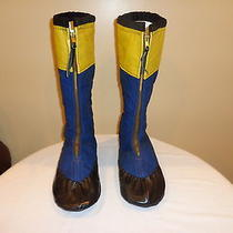 Vintage Handmade Canvas Leather Moccasin Knee High Boots Native American Sz 10.5 Photo