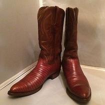 Vintage Handmade Lucchese Cognac Lizard & Leather Cowboy Men's Boots Size 10d Photo