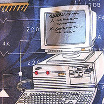 Vintage Handmade Steven Harris Polyester Computer Programming Networking Tie Photo