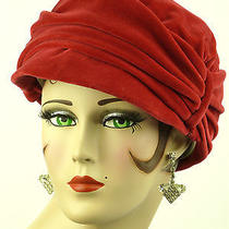 Vintage Hat 1950s French Beautiful Ladies Cherry Red Velvet Haute Mode Suzanne Photo