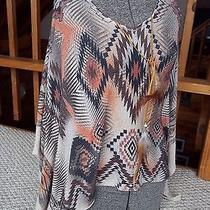 Vintage Havana Aztec Indian Feather Poncho Boho Top Vintage Havana Size Medium Photo