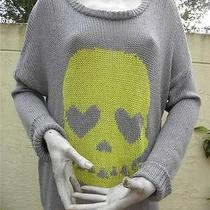 Vintage Havana Black Label Open Knit Skull Gray Sweater Nwt Sz L Photo