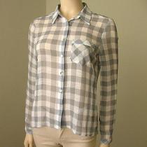 Vintage Havana Check Shirt Top Gray Sheer Hi Low Hem S 6138h -Missing Button Photo