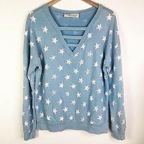 Vintage Havana Distressed Star Print Sweater Sweatshirt Baby Blue Size M Photo
