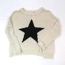 Vintage Havana Girls Beige Knit Top Sweater Black Star Design Pullover Size M Photo
