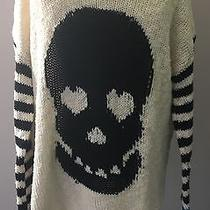 Vintage Havana Girls Ivory Knit Sweater With Skull Striped Sleeves Size Xl 86  Photo