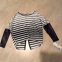 Vintage Havana Girls Top/shirt Size Small  Nwt Faux Leather Sleeves Slit Back Photo