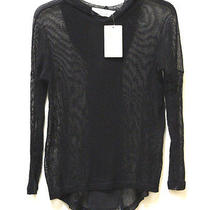 Vintage Havana Hooded Black Long Sleeve See Through Knit Pullover Top-Large Nwt Photo