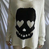 Vintage Havana Ivory Long Sleeve Knit Sweater Pullover Black Heart Skull Size L Photo