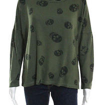 Vintage Havana Olive Green Long Sleeve Skull Print High Low Sweater Sz M Photo