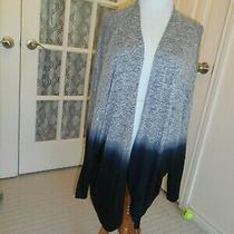 Vintage Havana Open Front Sweater Tunic Top Ombre Black/blue Dolman 3/4 Sl  Sz L Photo