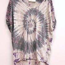 Vintage Havana Size L Purple Gray Tie Dye Short Sleeve Striped Top Shirt Photo