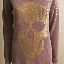 Vintage Havana Skull Tan Lightweight Crewneck Long Sleeve Sweater Medium Nwt Photo
