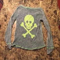 Vintage Havana Skull Thermal Top Blue  Green  Lime Green Medium Photo