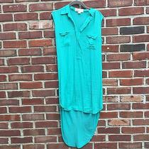 Vintage Havana Teal Green Shirt Dress Hi Low Pocket Detail M Photo