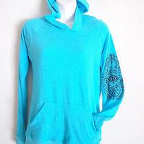 Vintage Havana Turquoise Hoodie Sweatshirt  Hamsa Blue Eye Good Luck Sz M New Photo