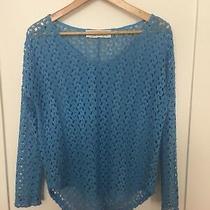 Vintage Havana Women's Lightweight Blue Solid Open Knit Crochet Sweater Size S Photo