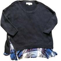 Vintage Havana Women's Medium Knit Sweater Navy Blue Oversized Scoop Size L - C Photo