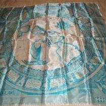 Vintage Hawaii State Aqua Blue Scarf With Map Photo