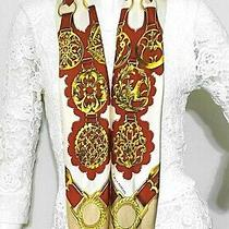Vintage Hermes Cuivreries Silk Scarf  Carre 90 Persimmon Red Gold Ivory 1073 Photo