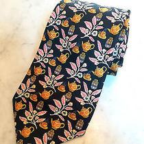 Vintage Hermes Paris Mens Silk Tie Black Asian Teapots Lanterns Blossoms 7536 Ia Photo