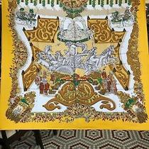 Vintage Hermes Yellow Orange Silk Scarf Le Paradis Du Roy by Annie Faivre Photo
